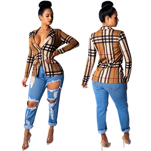 Casual Blazer Women Tops 2020 Spring Coat Fashion Classic Plaid Tops Thin Coat