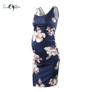 Wholesale Women s Side Ruched Maternity Sleeveless Dresses Maternity Tank Dress Mama Scoop Neck Baby Shower Vestido Pregnancy Dress Y19051804