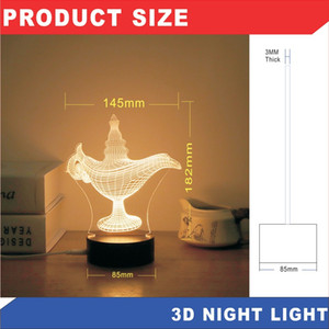 Wholesale 2019 Cross border new led night light usb acrylic creative d small table lamp Christmas gift can be customized