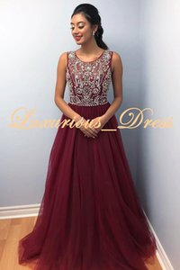 New Design 2019 Elegant Crystal Burgundy Evening Dresses Major Beading Sequins Prom Gowns Sleeveless Floor Length Party Gowns Guest Dress on Sale