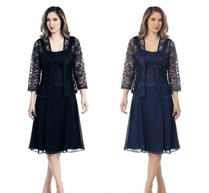 Wholesale navy blue chiffon lace jacket resale online - Sexy Navy Blue Chiffon Mother s Dresses With Lace Jacket Long Sleeves Knee Length Plus Size Custom Evening Party Gowns