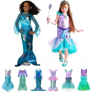 Wholesale Kids Girl Little Mermaid Princess Ariel Dress Cosplay Costume Children Halloween Clothes Green Fancy Dress for Girls Party