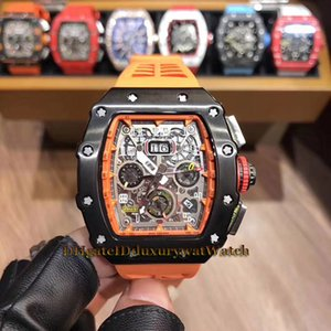 Luxry Cheap 11-03 Big Date 43mm Flyback Chrono Black Skeleton Dial Miyota Automatic Mens Watch Black Steel Case Orange Rubber Strap Watches on Sale