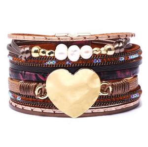 Wholesale 2019 charm leather bracelet Ladies Heart Multi layer Multicolor Love Bracelets Bridal braided bracelets fashion jewellery NY