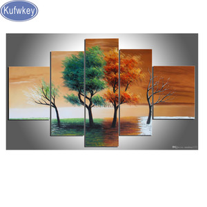 Wholesale bathroom decor diamonds with picture quot four seasons trees quot d diy diamond painting full square round drill mosaic photo set