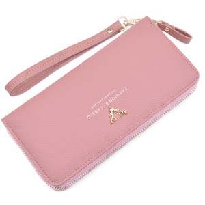 Wholesale New Design Wallet for Women Leather Slim Clutch Long Designer Trifold Ladies Credit Card Holder Organizer