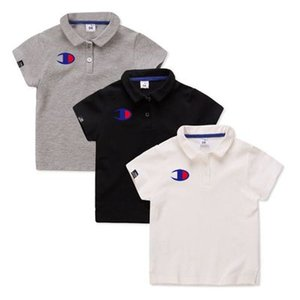 Wholesale Kids wear champion edition boys POLO shirt pure cotton short sleeved T shirt Korean children s summer new half sleeved T shirt