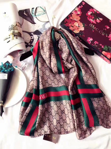 ladies fashion accessories beach shawls red green stripes silk scarfs full logo 180cm*90cm g letters styles headbands best quality