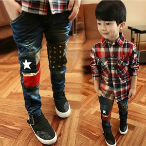 Wholesale 2016 Spring New Fashion Patchwork Boys Jeans High Quality Good Material Children Jean Age 3 4 5 6 7 8 9 10 11 12 Years Old B022 J190517