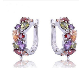 noble low price high quality wholesale 2pcs lots diamond crystal 925 silver random lady's earings 8rtt
