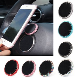 Wholesale Rhinestone Car Air Outlet Magnet Mobile Phone Holder Magnetic Suction Cup Holder Material metal rhinestone opp packaging Z