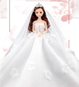Wholesale Lexin Dodino Barbie Special Wedding Dress Doll Set Gift Box Girl Princess Children s Toy Tail Skirt