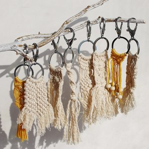 Wholesale 2019 Original Hand Woven Keychains Keyrings Bohemian Beige Bag Charm Tassel Pendant Keychain Purse Handbag Decor Fashion Accessories M562F