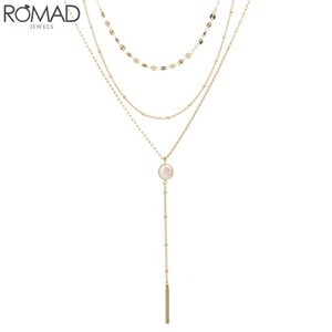 Wholesale ROMAD Multilayer Chain Choker Necklace Women Long Tassel Pendant Necklace Summer Holiday Party Beach Fashion Jewelry Boho R3