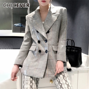 Wholesale CHICEVER Autumn Women s Blazer Notched Collar Long Sleeve Button Sequin Plaid Coats Clothing Female Fashion New Korean