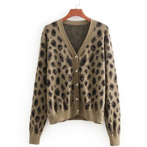 Wholesale 2019 Leopard Printing Cardigans Sweater Women Long Sleeve Knitted Sweater Coat Single Breasted Korean Cute Cardigans