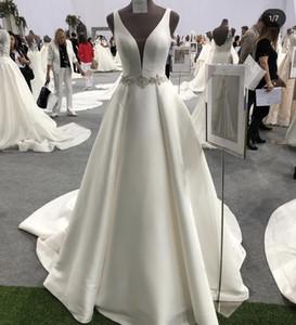 2019 A-line Deep neckline Quality Satin Wedding Dress Beaded Belt Ivory White 1 meter trian Bridal Gown Pleated Wedding Dress