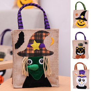 Halloween Christmas gift bags 4 styles halloween decorations Linen Pumpkin Tote Shopping Mall Hotel Cookies Apple Gift Bag JY444
