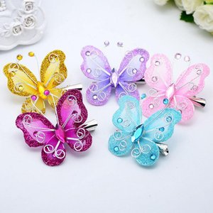 Girls Fairy Princess yarn Hairpins colorful Butterfly Wings Hair Clips Cute Pretty baby hair accessory
