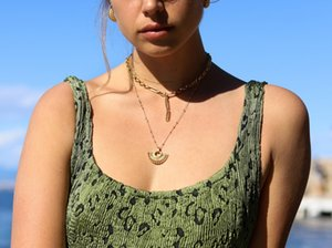 Minority design long moon necklace ear nail girl cold wind with simple gold-plated ornaments