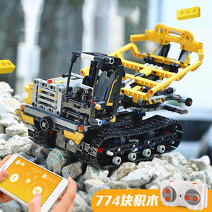 Wholesale YX Engineering Truck RC Building Block Toys DIY APP Control Programmable Gravity Induction Revolve Bucket Birthday Kid Christmas Gifts