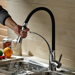 Wholesale becola new design pull down kitchen faucet chrome brass sink mixer tap black faucet deck mounted B B