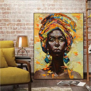 Wholesale MUTU Canvas Painting Wall Art Pictures prints Black woman on canvas no frame home decor Wall poster decoration for living room