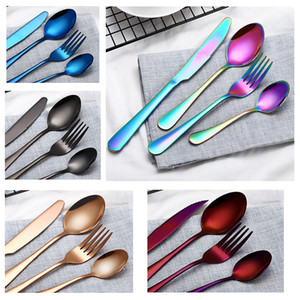 Wholesale 7 styles Stainless steel Gold Flatware Sets Spoon Fork Knife Tea Spoon Dinnerware Set Kitchen Bar Utensil Kitchen Supplies Tableware Set