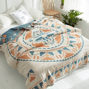 Wholesale Summer breathe freely blanket cotton quilt Bohemia Style duvet cm AB side bedspread layer Gauze Jacquard bed cover