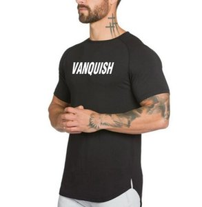 2019 gym Men's plain color, loose breathable sport T-shirt with round collar and casual T-shirt stitching short sleeves, irregular pendant l