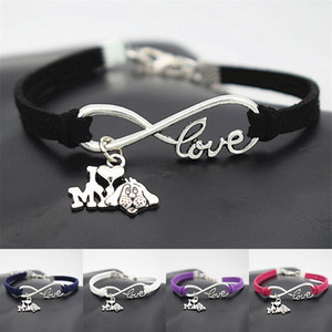 Wholesale 10pcs Antique Silver I HEART LOVE MY DOG Pendant Bracelets Infinity Charm Love Pets Lover Jewelry Party Personality Gifts