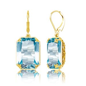 Szjinao Fashion 2019 women's earring gold long Earrings Costume Jewelry Handmade rectangle Aquamarine 925 Sterling Silver on Sale