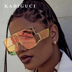 Wholesale KADIGUCI Fashion Square Sunglasses Women New Oversized Mirror Men Shades Glasses Metal Rivet Trend Unique Female Eyewear K367