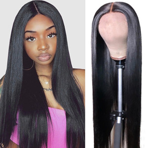 Wholesale 12 malaysian straight hair resale online - 30 inch Human Hair Wigs Yaki Straight Kinky Curly Water Loose Deep Body Human Hair Lace Front Wigs Transparent T Lace