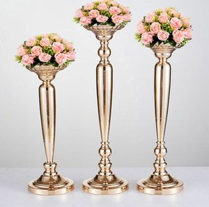 Wholesale Wedding Ceremony Prop Candle Holder Golden Electroplate Radish Column Ornament Flower Stands Support Stage Main Table