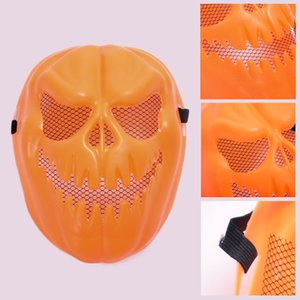 Wholesale pumpkin face mask resale online - Halloween Pumpkin Mask Plastic Hollow Out Face Mask Party Cosplay Full Face Cosplay Masks Halloween Terror Props Decor Masks BH2415 TQQ