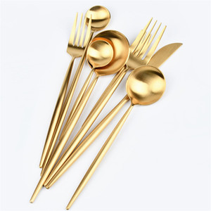 Wholesale gold silverware for sale - Group buy Dinnerware Gold Flatware Gold Cutlery Matte Polish Stainless Steel Knife Fork Spoon Wedding Tableware Silverware