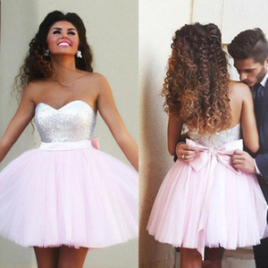 Wholesale Hot Sale Pink 2020 Cocktail Dresses A-line Sweetheart Tulle Sequins Bow Short Mini Elegant Party Homecoming Dresses