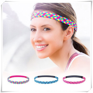 Wholesale Woven Hair Band Double Braided Hair Rope Elastic Yoga Sports Gym Stretch Band Sport Sweat Sweatband Colorful