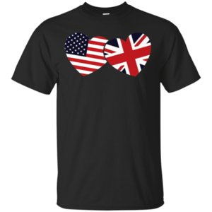 Wholesale British American Flags Hearts Cool Union Jack Cool T Shirt Black S Xl Summer O Neck Topstee Shirt