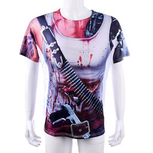 Men's Halloween Decoration Costume Bullet Pistol Print Bloody COSPLAY Elastic Size T-Shirt ;Game anime cosplay costume;