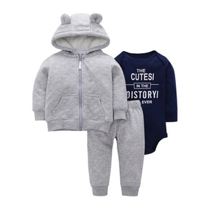 Baby Boy Girl Outfit Hooded Coat+bodysuit Letter Print+pants Infant Clothing 2019 Spring Newborn Clothes New Born Babies Suit J190427 on Sale