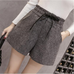 2019 New Autumn Winter Wool Shorts Womens Fashion Lace-up High Waist Woolen Shorts Female Casual Boots