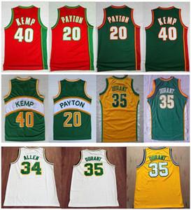 High-Quality Vintage Green Red Yellow White Kevin 35# Durant Jersey Shawn 40# Kemp Jerseys Cheap Gary 20# Payton Jersey Stitched Size S-XXL