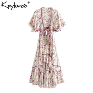 Wholesale Boho Chic Summer Vintage Floral Print Asymmetrical Dress Women Fashion Backless With Sashes Beach Dresses Vestido Mujer