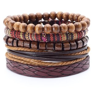 Wholesale 5 set Handmade Weave Charm Wrap Men Bracelet Femme Homme Male Jewellery Pulseras Beads Leather Bracelets for Women Bangles
