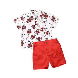 Wholesale 1 Years Toddler Kids Baby Boy Christmas Santa Tops Shirt Shorts Pants Outfits Clothes