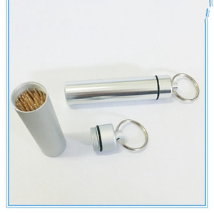 Wholesale Pocket Toothpick Holder Toothpick Boxes with Keychain Aluminum Alloy Case Keychain for Traveling