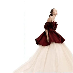 Two Pieces Formal Evening Dresses Off The Shoulder Burgundy Bubble Peplum Top and White Long Tulle Layers Skirt Ball Gown Prom Party Dress on Sale