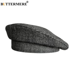 Wholesale BUTTERMERE Ladies Plaid Berets Hat French Houndstooth Painter Hats Women Cotton Linen Summer Dark Grey Female Vintage Artist Cap